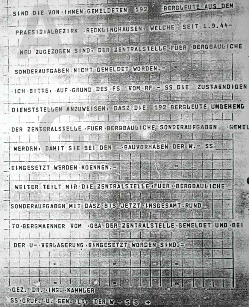 Telegramm von Hans Kammler an Dr. Brandt