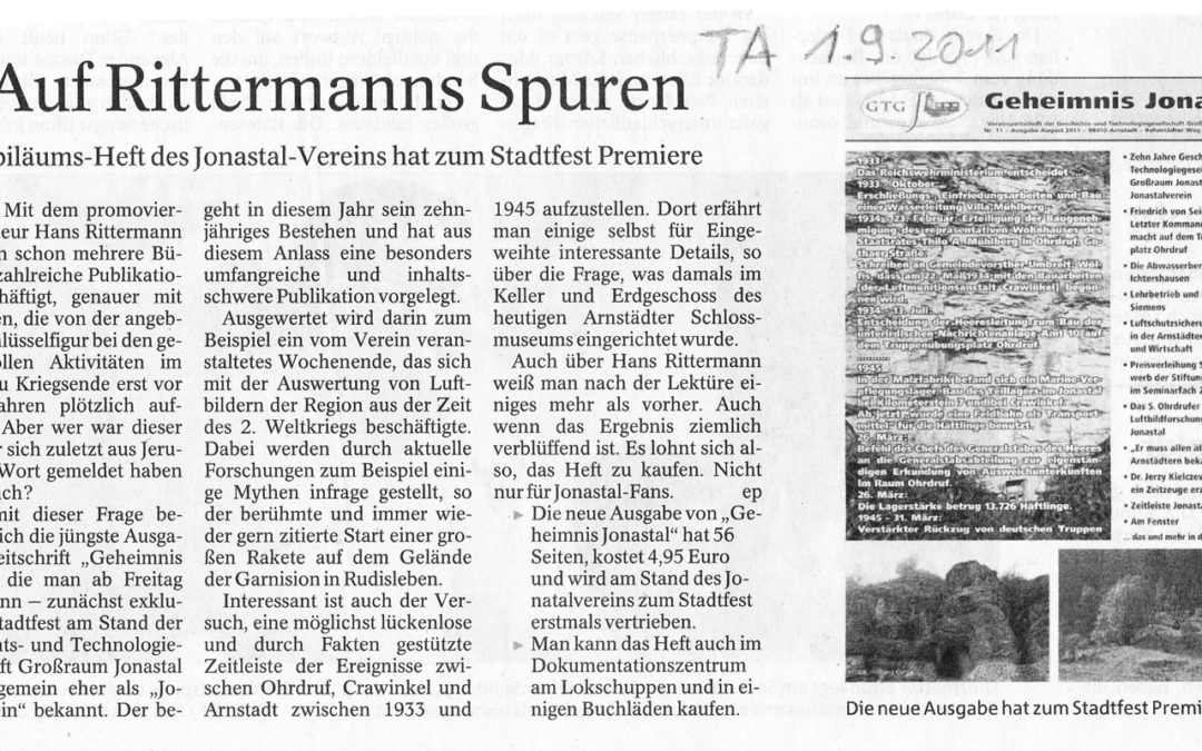 Thüringer Allgemeine Arnstadt 01.09.2011